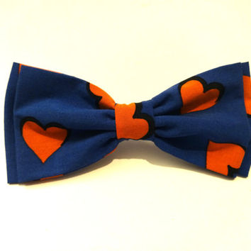 Blue Bow Tie with Red Hearts Pattern, Valentine's Day Bow Tie, Valentine Bow Tie, Man Bow Tie, Mens Bow Tie