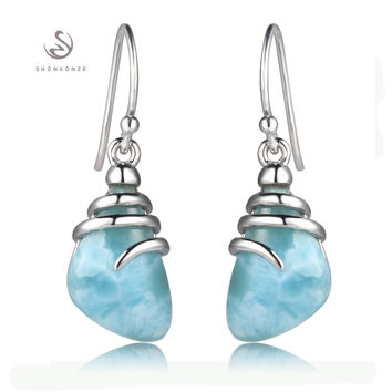 925 sterling silver Larimar Earrings Shinning S--3804 Explosion models The new product Noble Generous Recommend Promotion Trendy