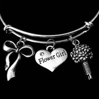 Flower Girl Jewelry Wedding Party Gift Adjustable Bracelet Silver Expandable Wire Bangle Trendy