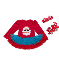 3PCs per Sets Infant Girl Clothes Long Sleeves Red Blue Tulle Santa Ho Ho Baby Girl 1st 2nd Christmas Dress Shoes Headband