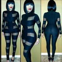 Mesh Cutout Long Sleeve Bodycon Jumpsuit