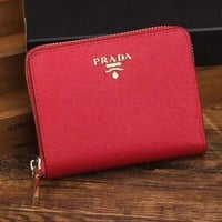 Prada Women Fashion Leather Zipper Wallet Purse-7