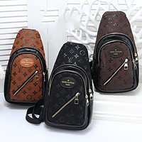LV Louis Vuitton Fashion Women Men Leather Backpack Bookbag Daypack Satchel