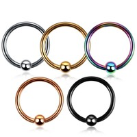 1pc Colorful  Steel Closure Bead Ring Lip Nose Septum Rings Ear Rings Body Piercing Nariz Jewelry Pirsing 3 Sizes available