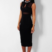 Attraction Black Embellished Mesh Bodycon Midi Dress | Pink Boutique