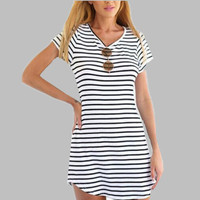 European Women Nightgowns Summer Sexy Nightshirts Striped Ladies Sleepwear Sleepshirt Night Dress Home Clothes Black White E0099