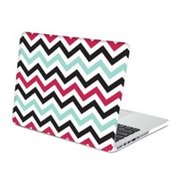MacBook Pro Retina 13 Case, GMYLE Hard Case Print Frosted for MacBook Pro 13 inch with Retina display - Turquoise Blue and Hot Pink Chevron Pattern Rubber Coated Hard Shell Case Cover (Not fit Macbook Pro 13)