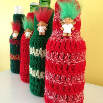 Ugly Sweater Koozie, Troll Angel Ugly Christmas Sweater Party Favors, Crocheted Beer/Soda Bottle Koozie, Hostess Gift, Secret Santa