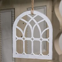 """Hanging Emerald Cutout Cathedral Window 9"""" H"""