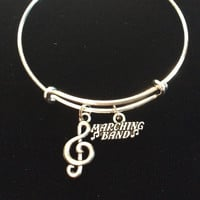 Marching Band Silver Expandable Charm Bracelet Adjustable Wire Bangle Gift Trendy Musician Music teacher Notes Handmade Inspired