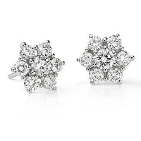 Floral Flower Design Real Diamond Stud Earrings in 14k Gold (1 1/2 ct. tw.)