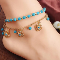 2Pcs Punk Boho Turquoise Beads Anklets Gold Plated Tassels Bracelet Womens Foot Chain Anklet Bracelet Foot Jewelry for women SM6