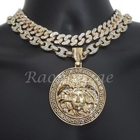 """Iced Out Anchor Medusa Pendant 16"""" Iced Out Choker 18"""" Puffed Gucci Chain Set 53"""