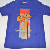 80s Nike Abstract Blue Gold Logo Made in USA t-shirt Youth Small