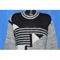 80s Le Tigre Black Gray Abstract Pattern Sweater Large