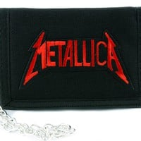 Red Metallica Tri-fold Wallet w/ Chain Occult Clothing