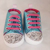 Teal and pink baby shoes, girl shoes, baby bling shoes, size small baby shoes, 0-3 month baby shoe,  bling baby booties, baby shower gifts