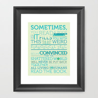 The Fault in Our Stars - Sometimes you read a book... Framed Art Print by deviousramblings