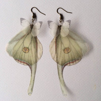 I Will Fly Away - Luna Moth (Actias Luna) Butterflies and Wings Earrings - Silk Organza - Made to Order