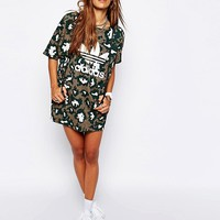 Adidas Originals Camo Asymmetric T-Shirt Dress at asos.com