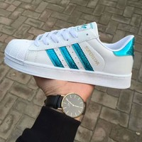 Adidas Fashion Reflective Shell-toe Flats Sneakers Sport Shoes Laser blue