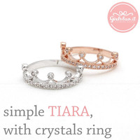 girlsluv.it - simple TIARA ring with crystals, 3 colors