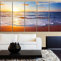 """60"""" x 32"""" Colorful Sunset and Beach, Ocean Landscape Canvas Art Prints For Wall - Sea View Large Art Canvas Printing - Wall Art Canvas"""