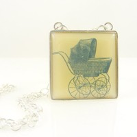 Vintage Baby Buggy Pram Stroller Image Square Pendant Necklace in Yellow on Silver Chain