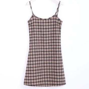 FREE SHIPPING Summer slim waist skirt with large round neck and plaid halter