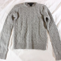 "~~~ CLOSET MUST! ~~~ $900 RALPH LAUREN GRAY ""CABLE KNIT"" CASHMERE SWEATER ~~ S/M"