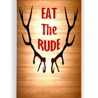 Eat The Rude Hannibal On Wood for Iphone 4 / 4s Hard Cover Plastic