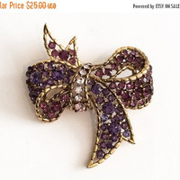 Amethyst Rhinestone Bow Brooch, 1960s Vintage Jewelry, Gift for Her SPRING SALE