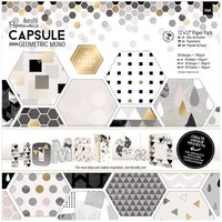 Papermania Geometric Mono Paper 12 x 12 Inches 36 Pack