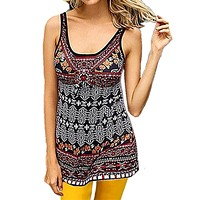 fhotwinter19 Women's new digital printing round neck sleeveless vest