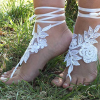 Free Ship bridal bangle,white lace anklet embrodeired flowers, beach wedding barefoot sandals, wedding bangles, anklets, bridal, wedding