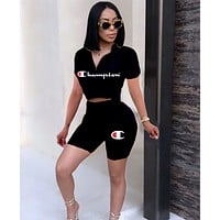 Champion Classic Hot Sale Woman Print Short Sleeve Top Shorts Set Two Piece Sportswear Black