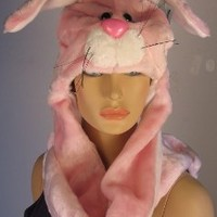 Pink Bunny Rabbit Character Plush Hat w/Attached Paw Mittens