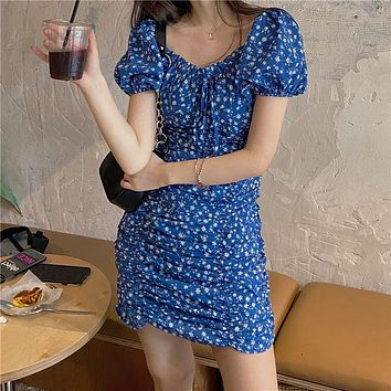 【Final Sale】French Style Floral Print Ruffled Dress