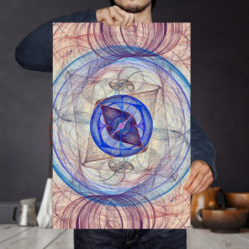 Astronomy Printable Art Print - Blue Compass Science Poster | Abstract Nursery Art Print | Modern Home Decor |  Eclectic Wall Art