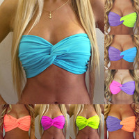 new fashion high quality women candy color patchwork backless strapless bra cropped