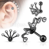Five Crystal Set Fan Hanging 316l Surgical Steel Cartilage/tragus Barbell