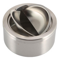Stainless Steel Cigarette Lidded Ashtray Silver Windproof Ashtray with Cover For Cigarette Tools