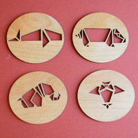 Origami Animals  Laser Cut Adler Wood by AFlutteredCollection