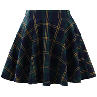 Green Plaid Check Skater Skirt  Green