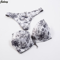 Julexy Sexy Luxury High-End Push Up Bra Set 34 36 38 ABC Print Fashion Bra Brief Sets Women Cotton G String Underwear Panty Set