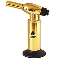 """Creme Brulee Culinary Kitchen Torch - Cooking Torch & Multifunction Butane Torch Lighter - Intense Adjustable Jet Flame (Up to 2400 F) - Includes Safety Lock, Piezo Ignition, and Quick Refill System - 10"""" Gold"""
