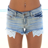 Shore Line Lace & Denim Shorts