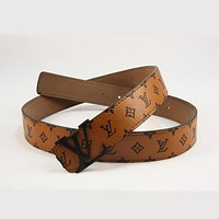 Louis Vuitton LV Woman Fashion Smooth Buckle Belt Leather Belt