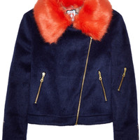 Shrimps - Agnes faux fur-trimmed brushed-felt biker jacket