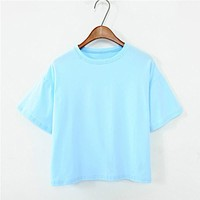 11 Colors 2018 Summer Style Women's T Shirt Women Tops Candy-color Loose Fashion Wild O-neck Solid Color T-shirt Female T Shirts